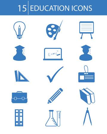 Education icons,Blue version,vector Illustration