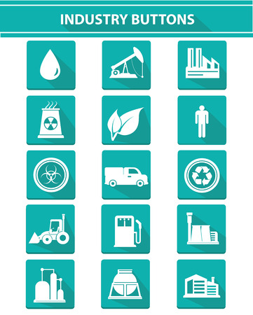 Industry icons on white background,green version,vector Vector