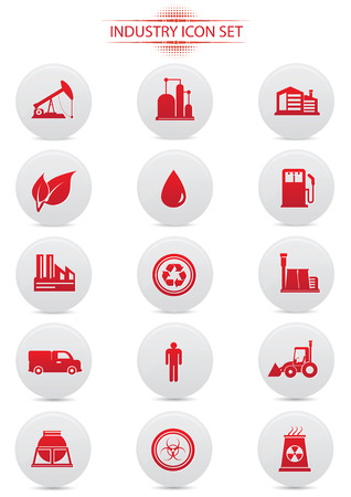 reservoir: Industry buttons on white background,red version,vector Illustration
