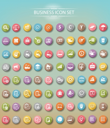 Big set of business icons,Colorful version 矢量图像