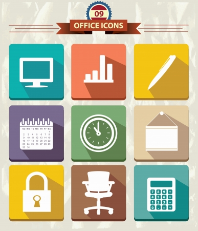 Office Flat icons,vector Vector