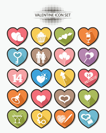 Valentine buttons,Colorful version,vector Vector