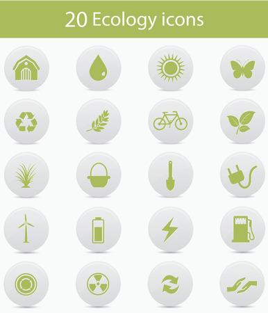 antipollution: Iconos de la ecolog�a, la versi�n verde, vector