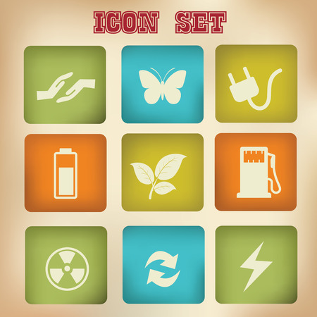 Ecology icons,vintage version,vector Vector