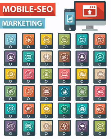 Mobile,SEO Marketing on Mobile  phone icons,Colorful version,vector Vector