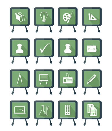 Blackboard Education icons,Green version,vector Vector