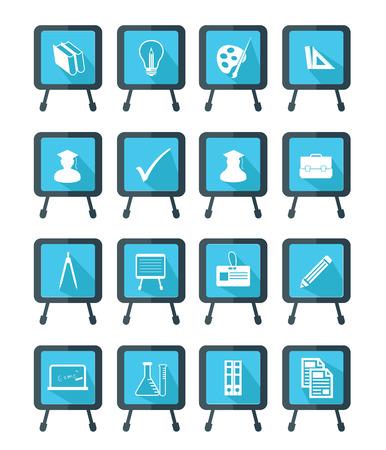 Blackboard Education icons,Blue version,vector Vector