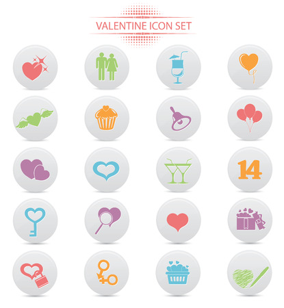 Valentine buttons,Colorful version,on white background,vector Vector