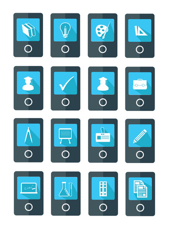Mobile Education icons,Blue version,vector Vector