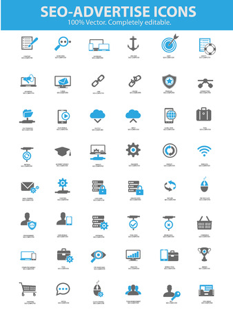 Seo - Advertise Icons,Blue version,vector