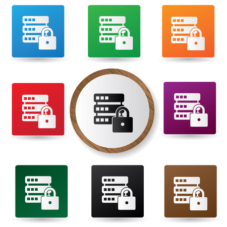 cylinder lock: Locked Database buttons,vector Illustration