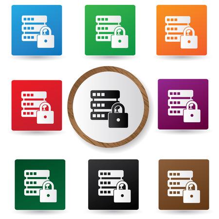 Locked Database buttons,vector Illustration