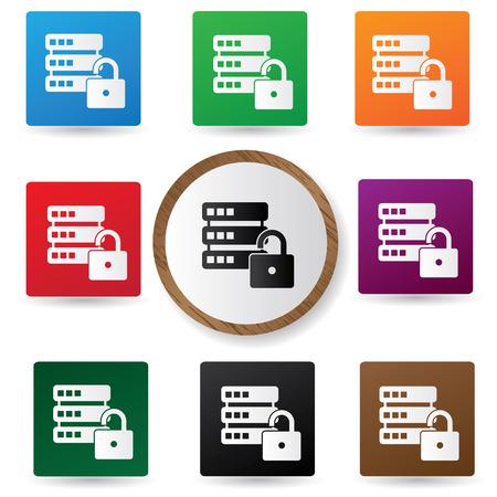 unlocked: Locked Database buttons,vector Illustration
