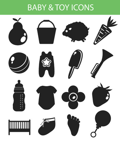 Baby   Toy Icons,Black version,vector Vector