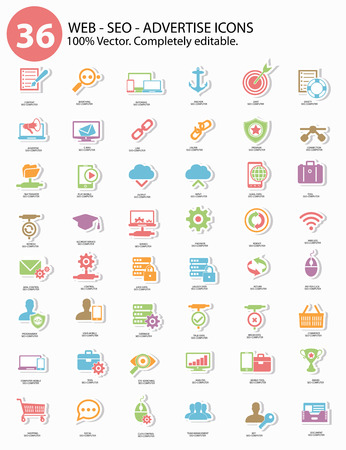 Seo - Advertise Icons,Colorful version,vector Vector