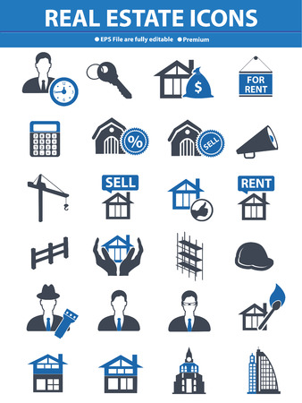 Real estate icons,Blue version,vector Vector