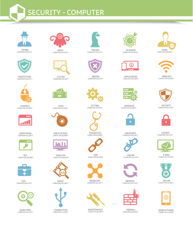 Computer security,Virus computer icons,Colorful version Vector