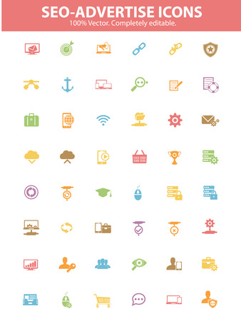 Searching   Internet Marketing Icons,Colorful version Vector