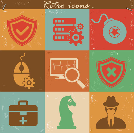 Antivirus icons,Vintage version,vector Vector