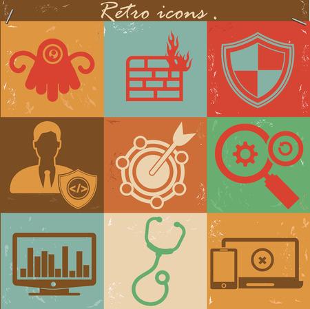 Antivirus icons,Vintage version,vector Vector