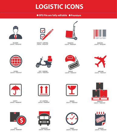 overnight delivery: Logistics   transport icons,Red version,vector Illustration