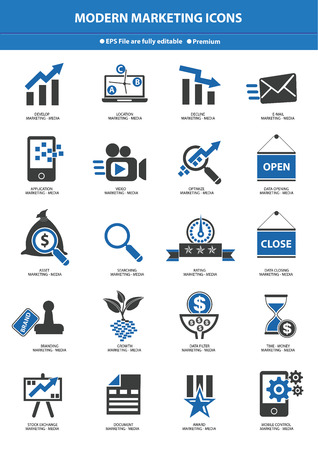 Modern Marketing Icon set,Blue version Vector