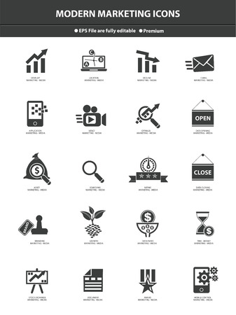 Modern Marketing Icon set,Black version Vector