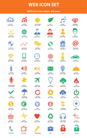 Web Icon set on white background,Colorful Version Vector