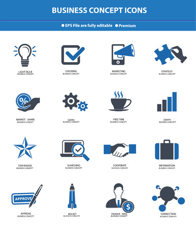 Business   Strategy concept icons,Blue version Vector