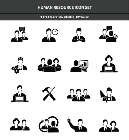 Human resource icon set,Black version Vector