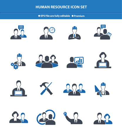 Human resource icon set,Blue version