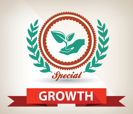 hand holding plant: Growth badge,vector