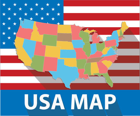 wisconsin flag: USA map,Colorful version,vector