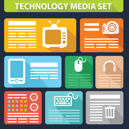 Technology media set,graphics design,for text Vector