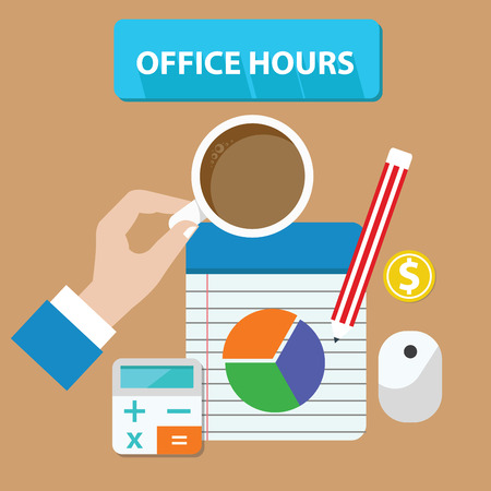 muse: Office hours concept,vector Illustration