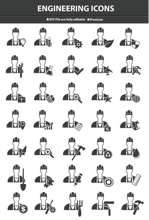 Engineering icon set,Black version,vector Vector