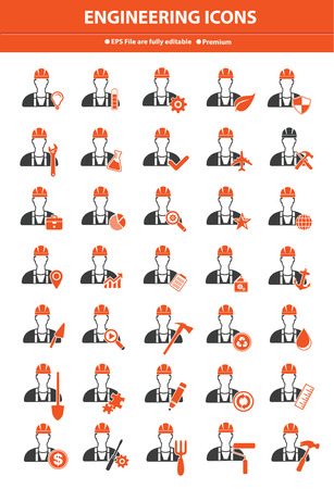 Engineering icon set,Orange version Vector