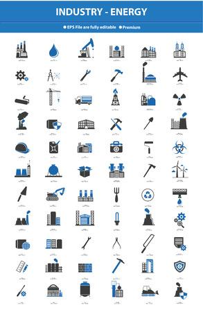 calentamiento global: Conjunto de iconos Industrial, versión azul Vectores