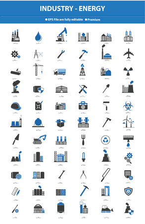 oil and gas industry: Industrial icon set,Blue version
