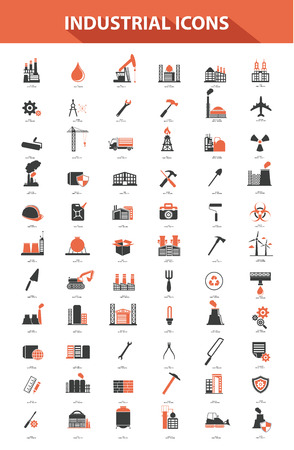 work environment: Industrial icon set,Orange version