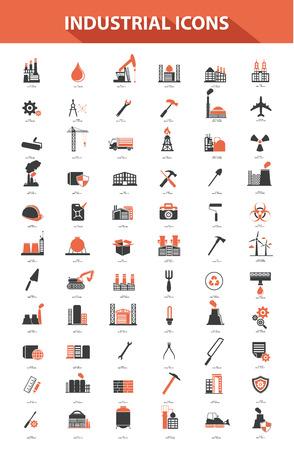 Industrie-Icon-Set, orange Version Vektorgrafik