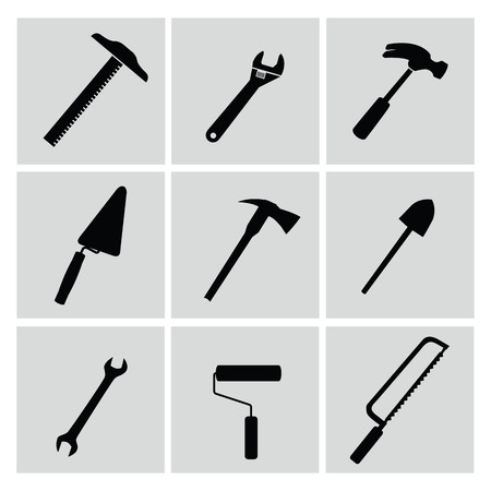 pick axe: Icons set tools,vector