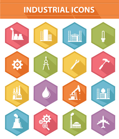 Industry icons on white background Vector