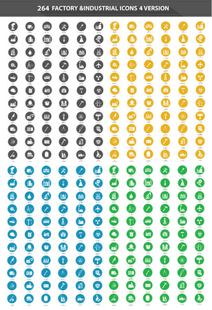 264 Factory   Industrial Icon set,4 Version Vector