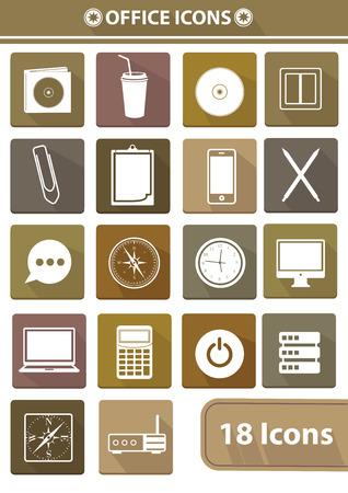 disk break: Office icons and Vintage buttons illustration  Illustration
