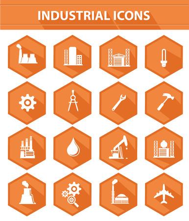 Industry flat icons,Orange version,vector Stock Vector - 26543772