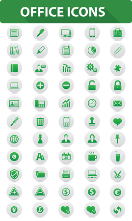 Office icons Green buttons Illustration  Vector