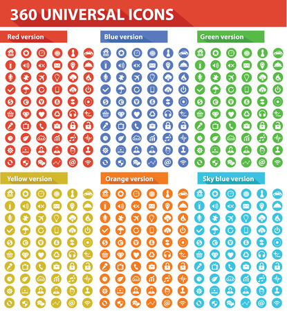 360 Universal Website Icons,6 Colors,vector Ilustrace
