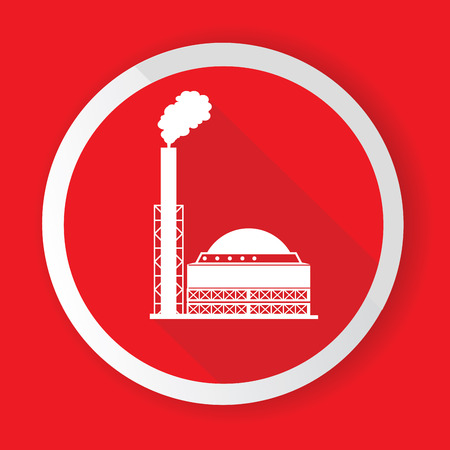 industrial complex: Heavy Industry in Red button illustration  Illustration