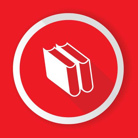 Books,Red button,vector Stock Vector - 26704373
